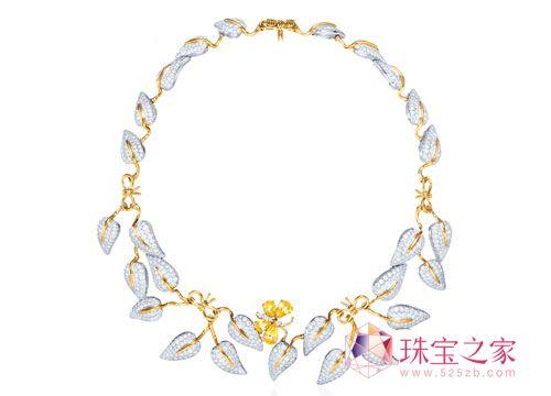 Tiffany & Co. 铂金及18K 黄金镶嵌钻石及黄色蓝宝石项链-童稚俏皮味